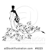 Vector Illustration of a Silhouetted Black and White Bride in Her Dress, with Ornate Floral Vines, Holding Flowers by AtStockIllustration