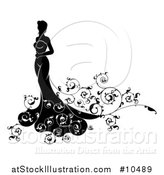 Vector Illustration of a Silhouetted Black and White Bride in Her Dress, with Swirls by AtStockIllustration