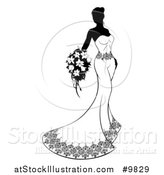 Vector Illustration of a Silhouetted Black and White Bride in Her Gown by AtStockIllustration