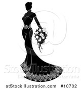 Vector Illustration of a Silhouetted Black and White Bride in Her Gown, Holding a Bouquet by AtStockIllustration