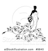 Vector Illustration of a Silhouetted Black and White Bride in Her Gown with Swirls by AtStockIllustration