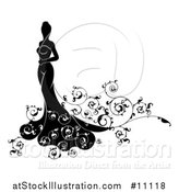 Vector Illustration of a Silhouetted Black and White Bride in Her Wedding Dress, with Swirls by AtStockIllustration