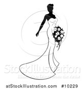 Vector Illustration of a Silhouetted Black and White Bride Posing in a Wedding Gown by AtStockIllustration
