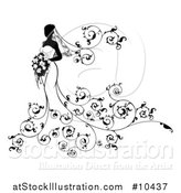 Vector Illustration of a Silhouetted Black and White Bride Posing in a Wedding Gown, with a Bouquet and Floral Swirls by AtStockIllustration