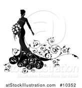 Vector Illustration of a Silhouetted Black and White Bride Posing in a Wedding Gown, with a Bouquet by AtStockIllustration