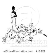 Vector Illustration of a Silhouetted Black and White Bride Posing in a Wedding Gown, with Swirls by AtStockIllustration