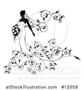 Vector Illustration of a Silhouetted Black and White Bride with Flowers by AtStockIllustration