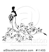 Vector Illustration of a Silhouetted Black and White Bride with Swirls by AtStockIllustration