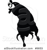 Vector Illustration of a Silhouetted Black Bull Bucking by AtStockIllustration