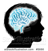 Vector Illustration of a Silhouetted Boys Head with a Glowing Blue Brain by AtStockIllustration