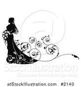Vector Illustration of a Silhouetted Bride with Swirly Vines and Copyspace by AtStockIllustration