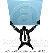 Vector Illustration of a Silhouetted Business Man Holding up a Blank Sign by AtStockIllustration