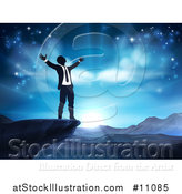 Vector Illustration of a Silhouetted Business Man in Worship, on a Cliff, Holding His Arms up to a Blue Sky over Mountains by AtStockIllustration