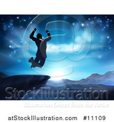 Vector Illustration of a Silhouetted Business Man Jumping and Cheering on a Cliff, Against a Blue Sky over Mountains by AtStockIllustration