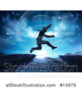 Vector Illustration of a Silhouetted Business Man Leaping a Mountainous Gap over a Blue Sunrise by AtStockIllustration