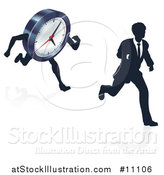 Vector Illustration of a Silhouetted Business Man Racing a Clock Character, with a Reflection by AtStockIllustration