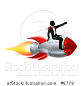 Vector Illustration of a Silhouetted Business Man Sitting on a 3d Rocket and Pointing Forward by AtStockIllustration