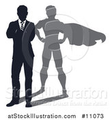 Vector Illustration of a Silhouetted Business Man Standing with Folded Arms and a Super Hero Shadow by AtStockIllustration