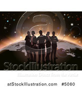 Vector Illustration of a Silhouetted Business Team over a Globe with Dawn Emerging by AtStockIllustration