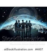 Vector Illustration of a Silhouetted Business Team over a Globe with Flight Paths by AtStockIllustration