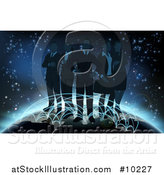Vector Illustration of a Silhouetted Business Team Standing on a Globe with Glowing Paths by AtStockIllustration