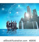 Vector Illustration of a Silhouetted Business Team Standing over a Blue Skyscraper Background by AtStockIllustration