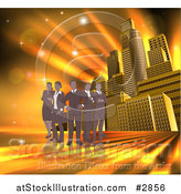 Vector Illustration of a Silhouetted Business Team Standing over a Golden Skyscraper Background by AtStockIllustration