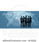 Vector Illustration of a Silhouetted Business Team Standing over a Map with Glowing Paths on Blue by AtStockIllustration