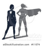 Vector Illustration of a Silhouetted Business Woman with a Super Hero Shadow by AtStockIllustration