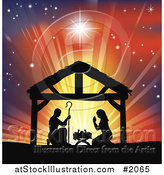 Vector Illustration of a Silhouetted Christian Christmas Nativity Scene Against a Colorful Shining Sky by AtStockIllustration