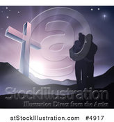 Vector Illustration of a Silhouetted Christian Family Huddling near a Cross at Dawn by AtStockIllustration