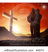 Vector Illustration of a Silhouetted Christian Family Huddling near a Cross at Sunset by AtStockIllustration