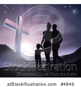 Vector Illustration of a Silhouetted Christian Family Walking Towards a Cross at Sunrise by AtStockIllustration