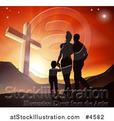 Vector Illustration of a Silhouetted Christian Family Walking Towards a Cross at Sunset by AtStockIllustration
