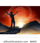 Vector Illustration of a Silhouetted Christian Man Praising Under an Orange Sunset over a Mountainous Landscape by AtStockIllustration