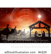 Vector Illustration of a Silhouetted Christmas Nativity Scene at the Manger with the Star of Bethlehem and Sunset by AtStockIllustration