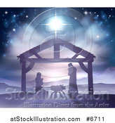 Vector Illustration of a Silhouetted Christmas Nativity Scene at the Manger with the Star of Bethlehem, Mary, Joseph and Baby Jesus by AtStockIllustration