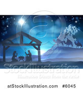 Vector Illustration of a Silhouetted Christmas Nativity Scene at the Manger with the Star of Bethlehem, Wise Men and Star by AtStockIllustration