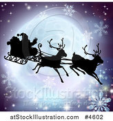 Vector Illustration of a Silhouetted Christmas Sleigh Reindeer and Santa over a Full Moon with Snowflakes by AtStockIllustration