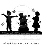 Vector Illustration of a Silhouetted Christmas Snowman with Children by AtStockIllustration