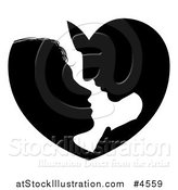 Vector Illustration of a Silhouetted Couple Forming a Heart As They Lean in for a Kiss by AtStockIllustration
