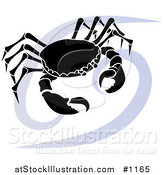 Vector Illustration of a Silhouetted Crab over a Blue Cancer Astrological Sign of the Zodiac by AtStockIllustration