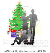 Vector Illustration of a Silhouetted Family Opening Christmas Gifts by a Tree by AtStockIllustration