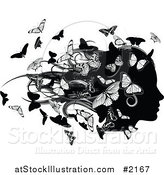 Vector Illustration of a Silhouetted Female Head with Butterflies by AtStockIllustration