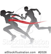 Vector Illustration of a Silhouetted Female Runner Beating a Man to the Finish Line by AtStockIllustration
