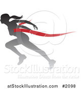 Vector Illustration of a Silhouetted Female Runner Breaking Through the Finish Line by AtStockIllustration