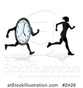 Vector Illustration of a Silhouetted Female Runner Trying to Beat Her Best Time by AtStockIllustration