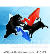 Vector Illustration of a Silhouetted Fighting Bear Vs Bull Stock Market Design with Arrows over a Graph by AtStockIllustration