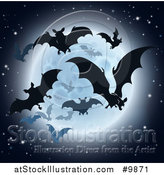 Vector Illustration of a Silhouetted Flying Vampire Bats and a Full Moon by AtStockIllustration