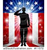 Vector Illustration of a Silhouetted Full Length Male Military Veteran Saluting over an American Themed Flag and Bursts by AtStockIllustration